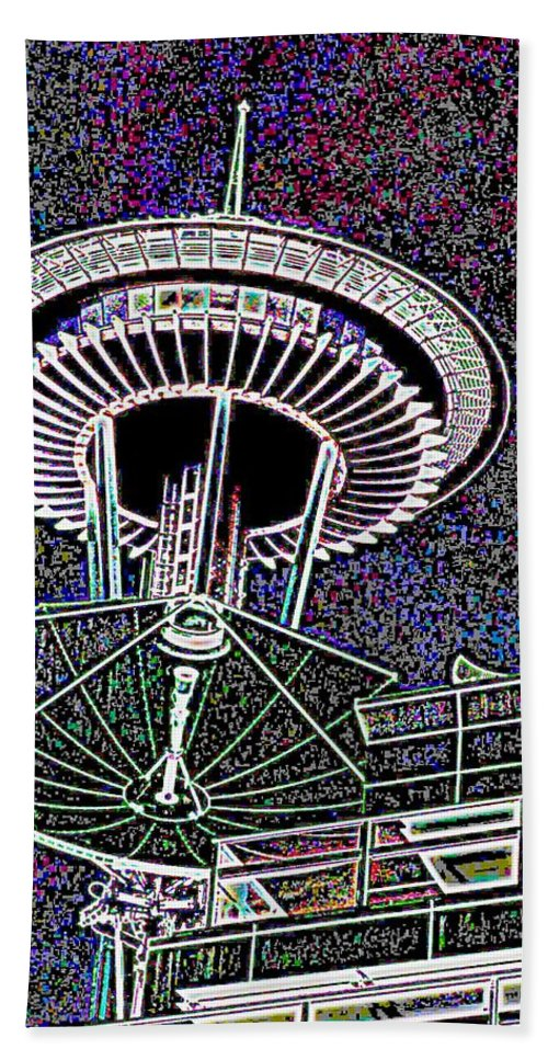 Seattle Beach Towel featuring the digital art Needle Over Fisher Plaza by Tim Allen