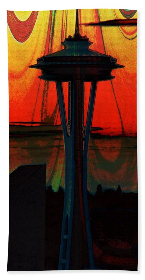 Seattle Beach Towel featuring the photograph Needle Silhouette 3 by Tim Allen