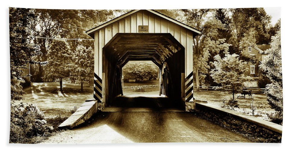 Neff's Beach Towel featuring the photograph Neff's Mill Covered Bridge - Lancaster County Pa. by Bill Cannon