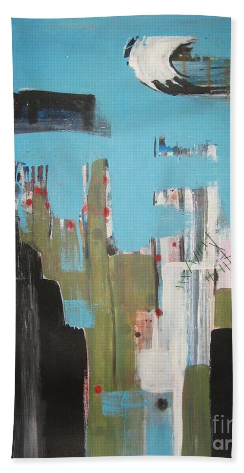 Abstract Paintings Beach Sheet featuring the painting Neglected Area by Seon-Jeong Kim