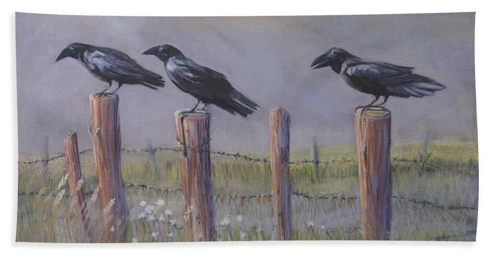 Crows Beach Towel featuring the painting Neighborhood Watch by Heather Coen
