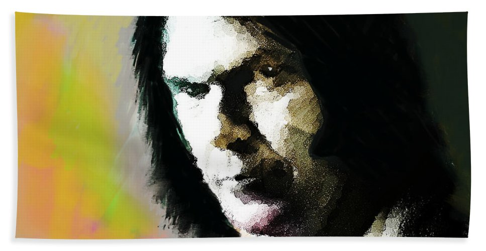 Neil Young Beach Towel featuring the painting Neil Young Portrait by Enki Art