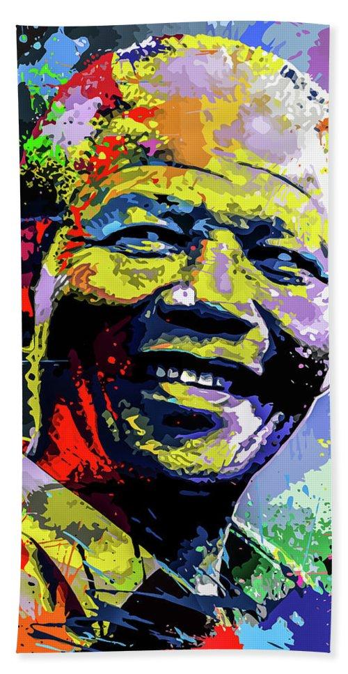 South Beach Towel featuring the digital art Nelson Mandela Madiba by Anthony Mwangi