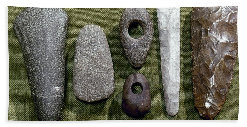 1800 B. C. Beach Towel featuring the photograph Neolithic Tools by Granger