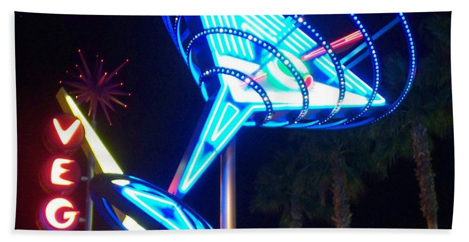 Vegas Beach Towel featuring the photograph Neon Signs 1 by Anita Burgermeister