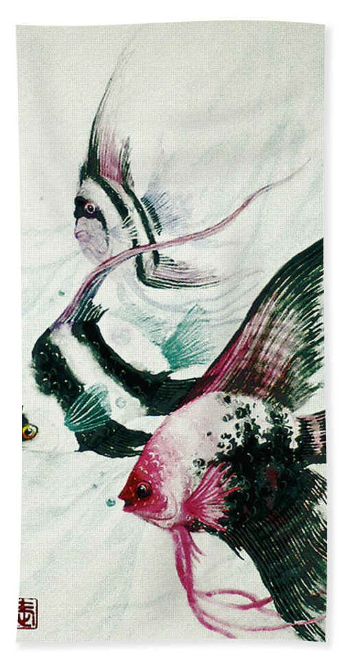 Fish Beach Sheet featuring the painting Neptunes Trio by Stephen Lucas