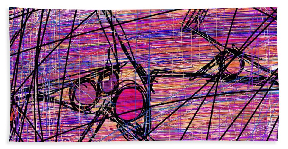 Abstract Beach Towel featuring the digital art Networking by Rachel Christine Nowicki