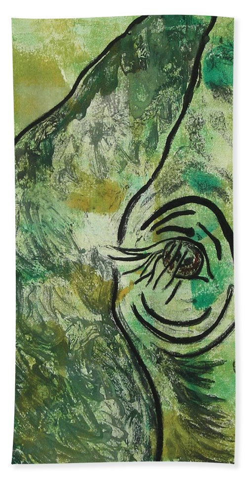 Monotype Beach Towel featuring the mixed media Never Forgotten by Cori Solomon