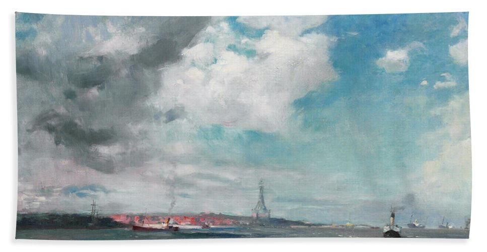 Seascape Beach Towel featuring the painting New Brighton From The Mersey by JH Hay