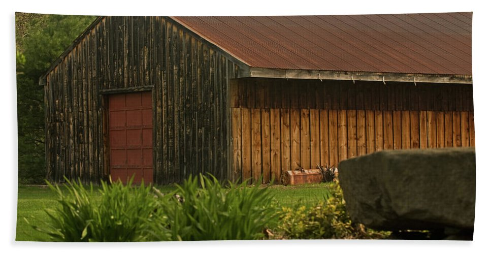 new England Beach Towel featuring the photograph New England Barn by Paul Mangold