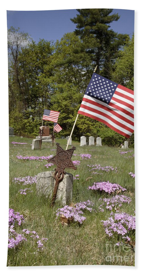 Veteran Beach Towel featuring the photograph New England Graveyard by Erin Paul Donovan