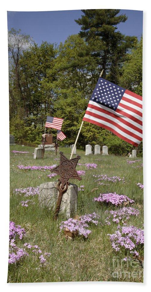 Veteran Beach Sheet featuring the photograph New England Graveyard by Erin Paul Donovan