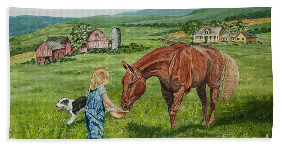 Country Kids Art Beach Towel featuring the painting New Friends by Charlotte Blanchard
