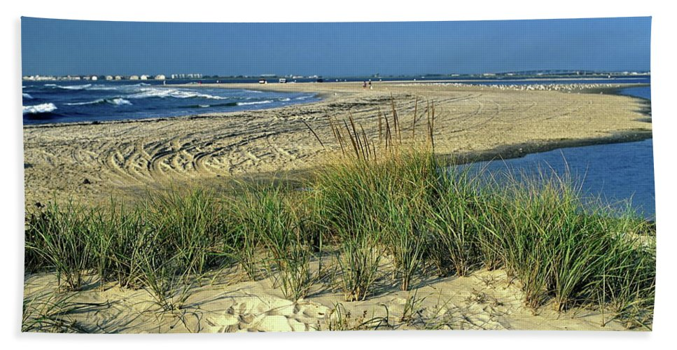 Inlet Beach Towel featuring the photograph New Jersey Inlet by Sally Weigand