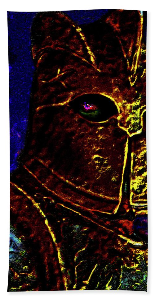 New Knight Beach Towel featuring the photograph New Knight Of The King's Guard. Mask. by Andy Za