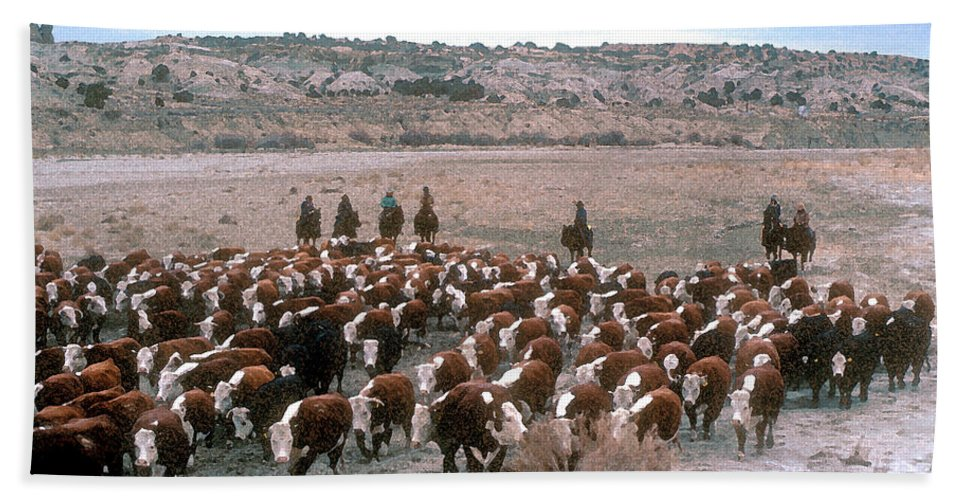 Cows Beach Towel featuring the photograph New Mexico Cattle Drive by Jerry McElroy