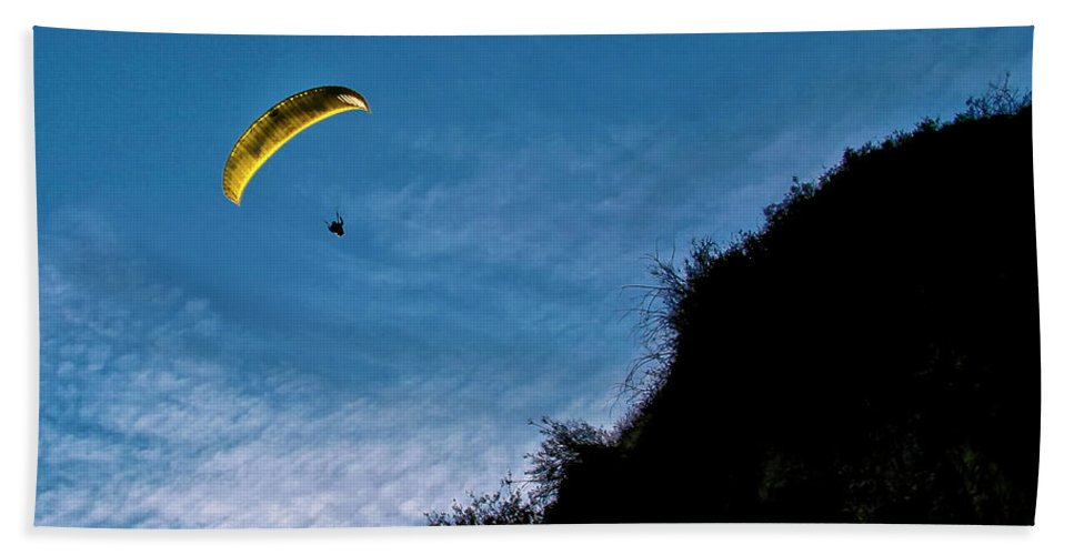Para-glider Beach Towel featuring the photograph New Moon by Albert Seger