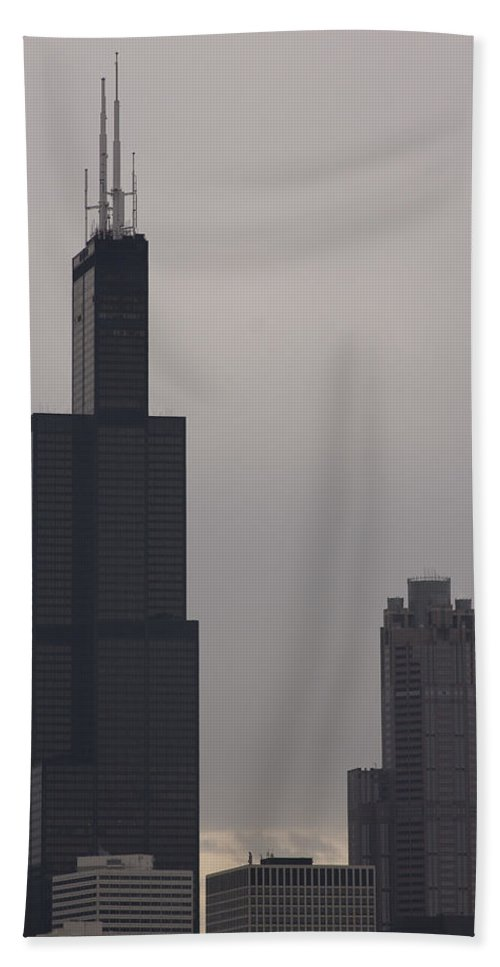 Chicago Windy City Sears Willis Tower Building High Tall Skyscraper Urban Metro Tourist Attraction Beach Towel featuring the photograph New Name by Andrei Shliakhau