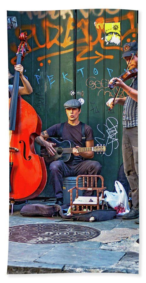 French Quarter Beach Towel featuring the photograph New Orleans Street Musicians by Steve Harrington