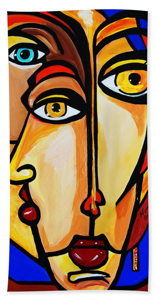 Picasso By Nora Friends Beach Towel featuring the painting New Picasso By Nora Friends by Nora Shepley