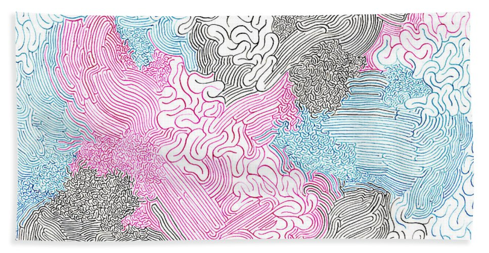 Mazes Beach Towel featuring the drawing New Space by Steven Natanson