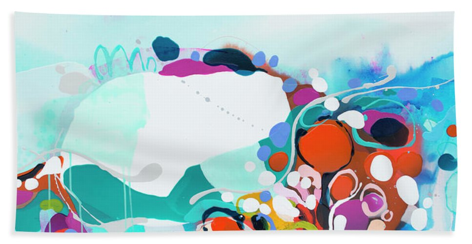 Abstract Beach Towel featuring the painting New Ways by Claire Desjardins