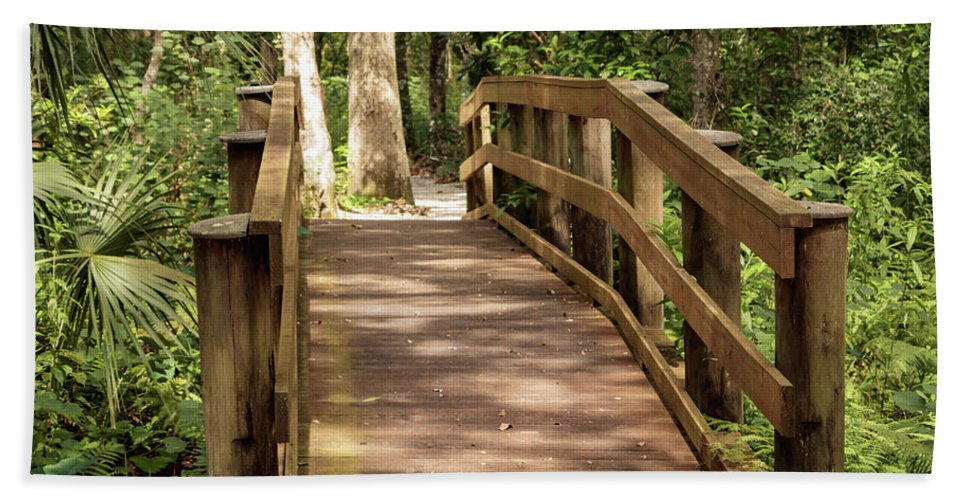 Forest Beach Towel featuring the photograph New Wood Bridge Park Trail by Michal Junasek