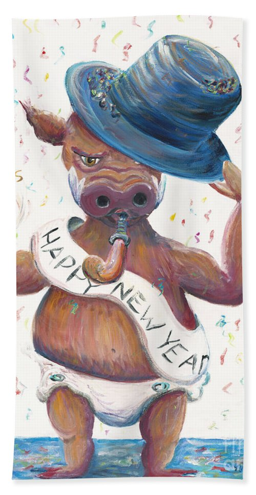 Hog Beach Towel featuring the painting New Years Hog by Nadine Rippelmeyer