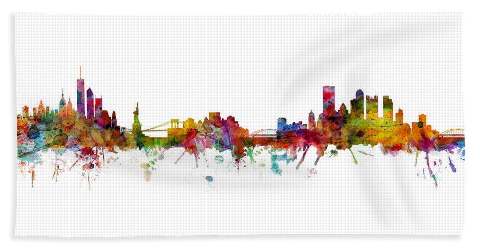 Pittsburgh New York Mashup Beach Towel featuring the digital art New York And Pittsburgh Skyline Mashup by Michael Tompsett