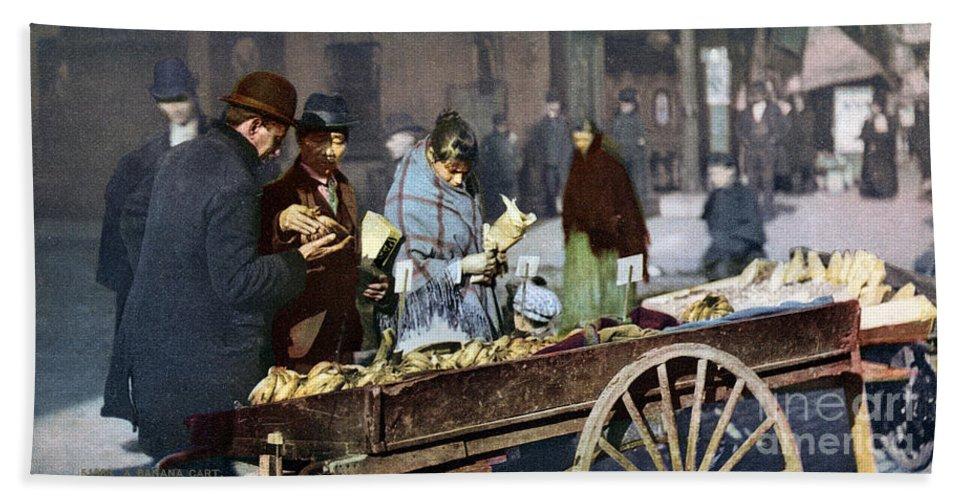 1900 Beach Towel featuring the photograph New York: Banana Cart by Granger