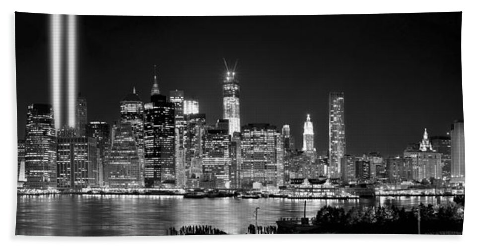 New York City Skyline At Night Beach Towel featuring the photograph New York City Bw Tribute In Lights And Lower Manhattan At Night Black And White Nyc by Jon Holiday