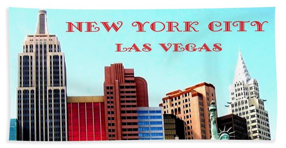 Poster Beach Towel featuring the digital art New York City- Las Vegas by Will Borden