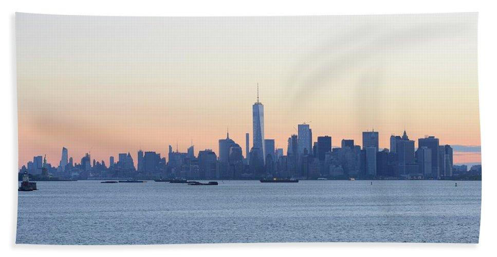 Skyline New York Beach Towel featuring the photograph New York City Skyline At Sunrise by Merijn Van der Vliet