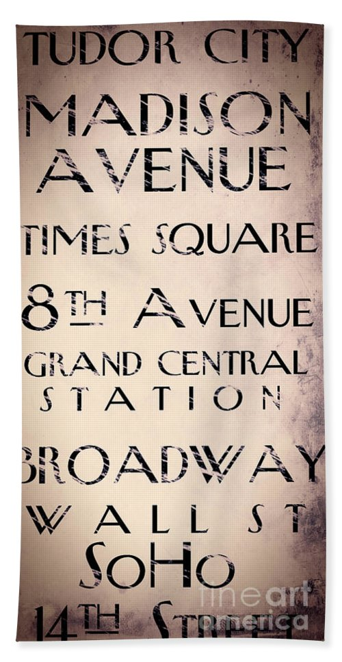 Park Avenue Beach Towel featuring the painting New York City Street Sign by Mindy Sommers