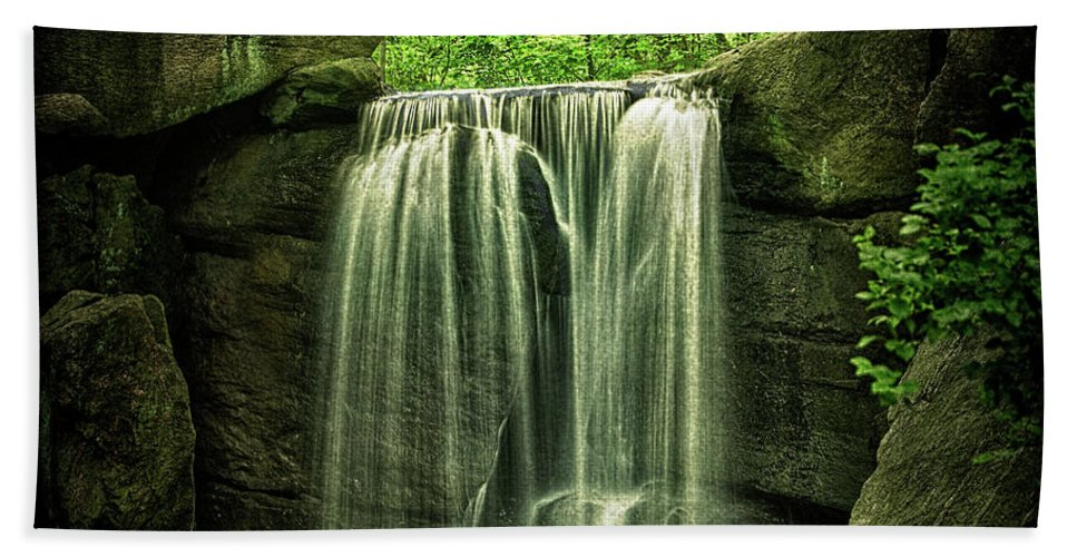 Central Park Beach Towel featuring the photograph New York City Waterfall by Chris Lord