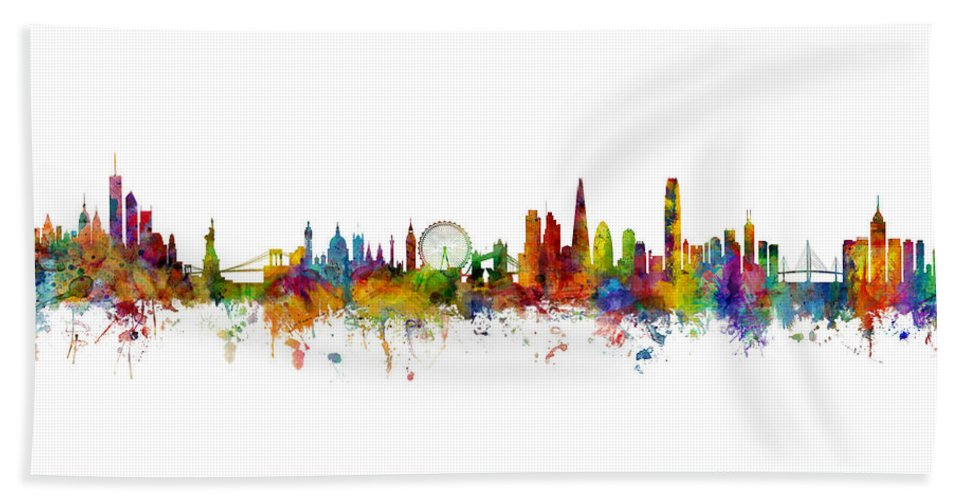 Hong Kong Beach Towel featuring the digital art New York, London And Hong Kong Skyline Mashup by Michael Tompsett