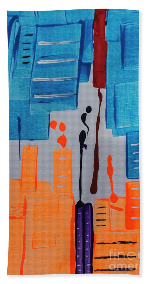Abstract Beach Towel featuring the painting New York New York by Janice Pariza