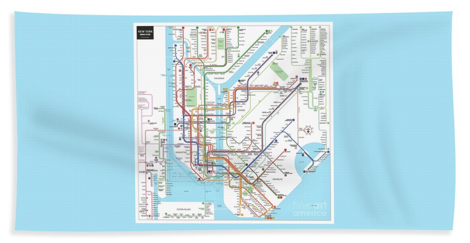 New York Subway Map For Sale.New York Subway Map Beach Towel