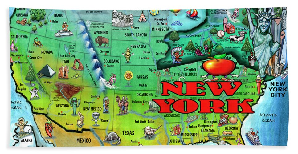 New York Beach Towel featuring the digital art New York Usa by Kevin Middleton