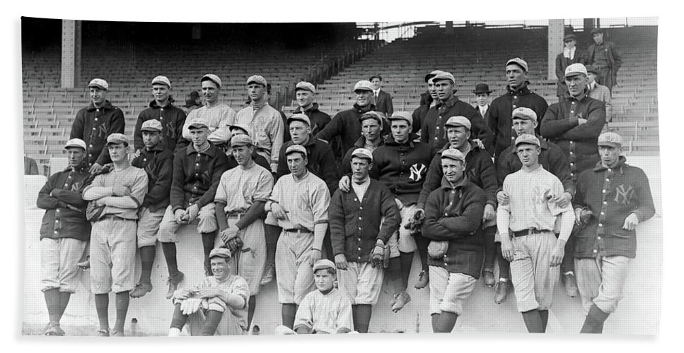 Baseball Beach Towel featuring the photograph New York Yankees 1913 by Rospotte Photography
