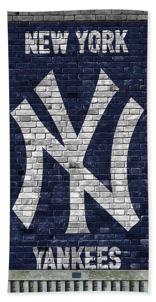 Yankees Beach Towel featuring the painting New York Yankees Brick Wall by Joe Hamilton