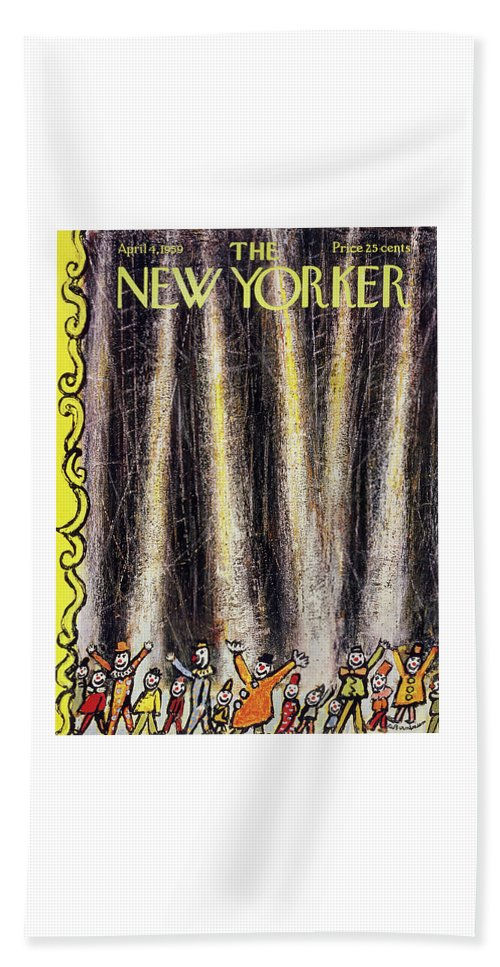 Clowns Beach Sheet featuring the painting New Yorker April 4 1959 by Abe Birnbaum