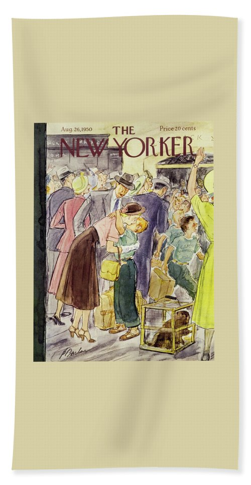 Couple Beach Sheet featuring the painting New Yorker August 26 1950 by Perry Barlow