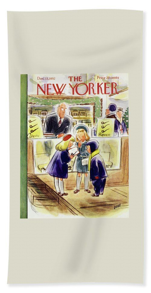Children Beach Sheet featuring the painting New Yorker December 13 1952 by Leonard Dove