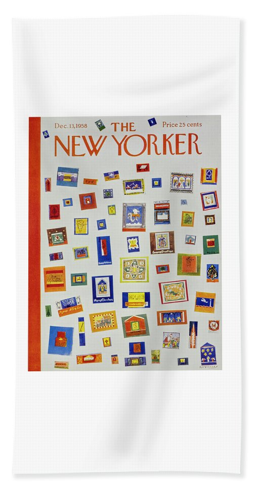Christmas Beach Sheet featuring the painting New Yorker December 13 1958 by Anatole Kovarsky
