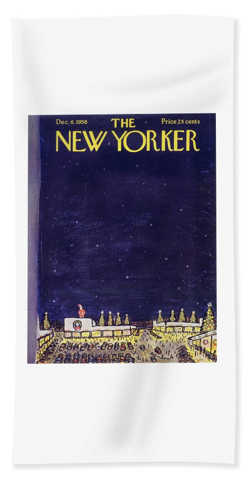 Christmas Beach Sheet featuring the painting New Yorker December 6 1958 by Abe Birnbaum