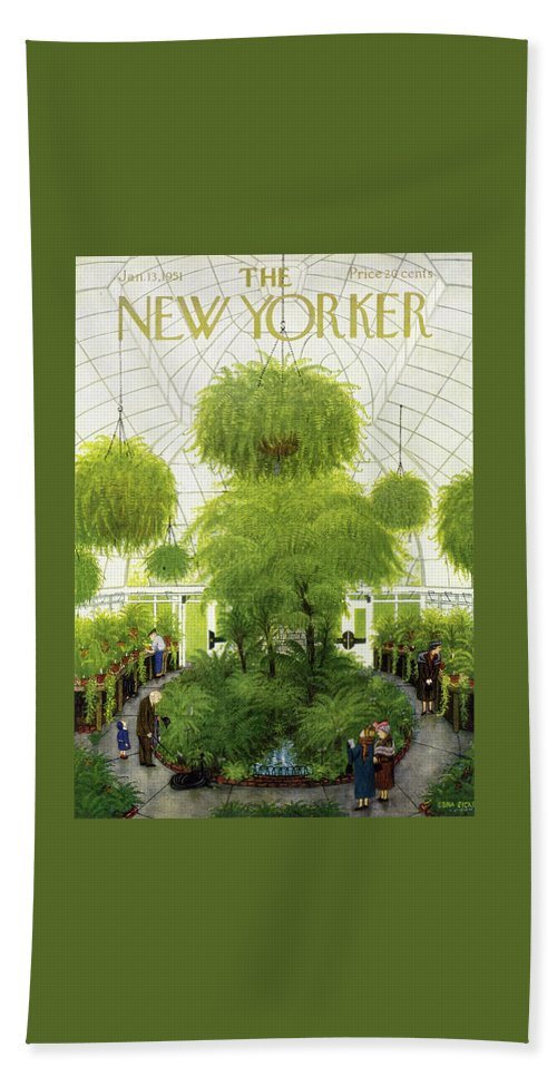Greenhouse Beach Sheet featuring the painting New Yorker January 13 1951 by Edna Eicke