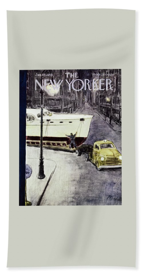 Yacht Beach Sheet featuring the painting New Yorker January 14 1956 by Perry Barlow