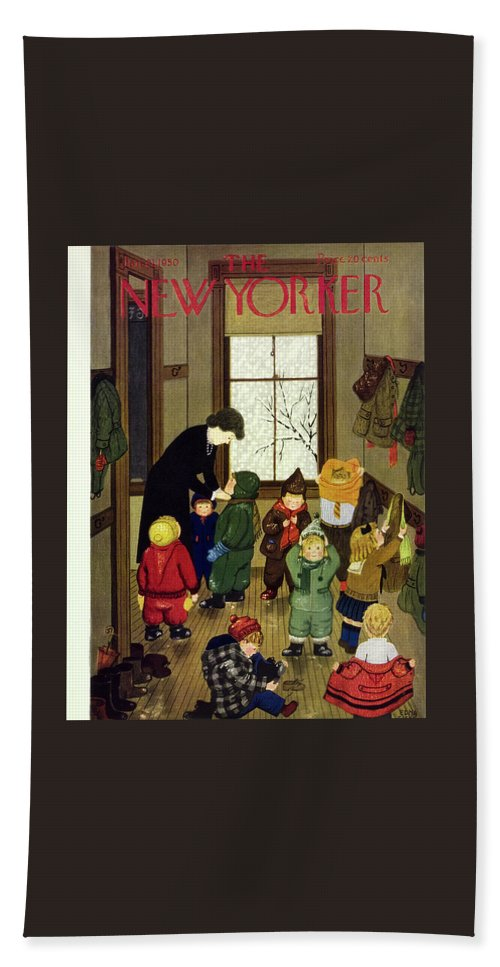 Teacher Beach Sheet featuring the painting New Yorker January 21 1950 by Edna Eicke
