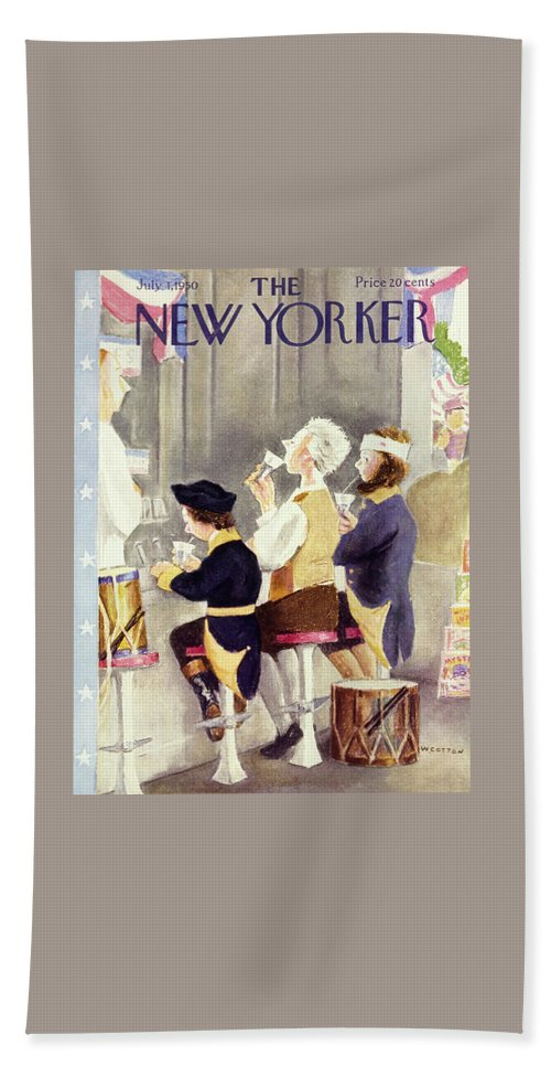 Men Beach Sheet featuring the painting New Yorker July 1 1950 by William Cotton